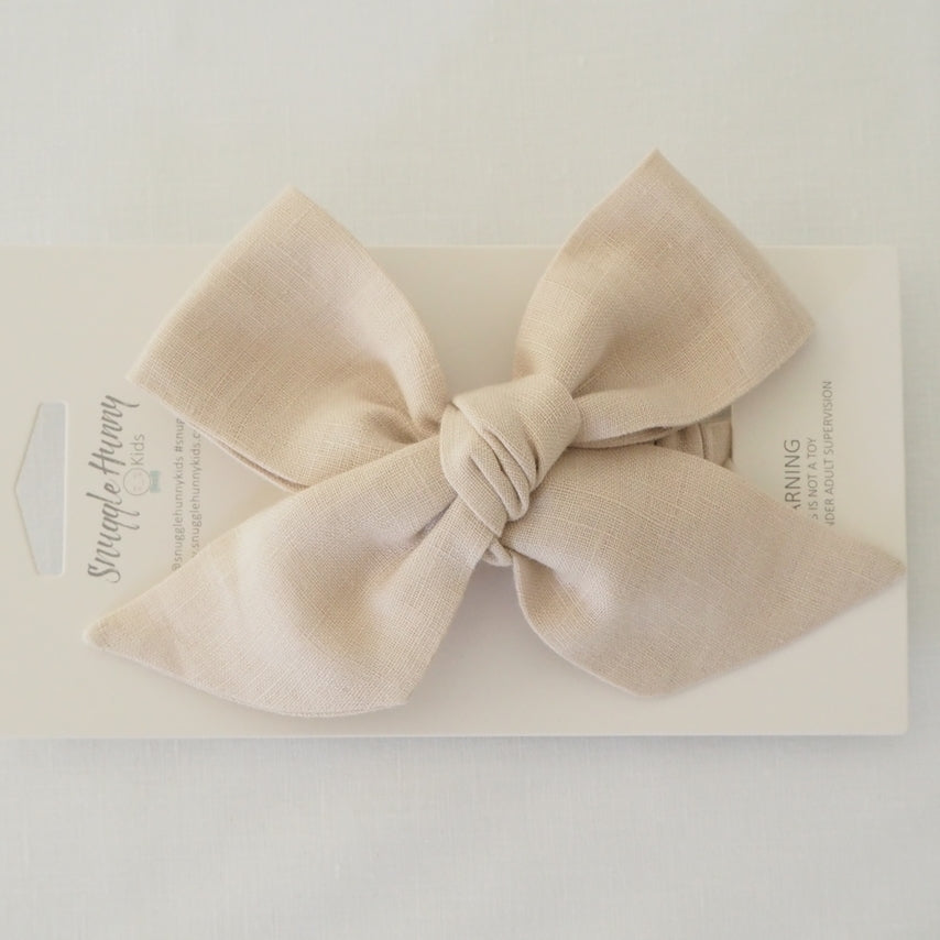 Snuggle Hunny Kids Pre Tied Headband Wrap - Natural Linen Bow