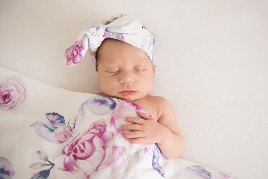 Snuggle Hunny Kids Baby Jersey Wrap and Topknot Set - Lilac Skies