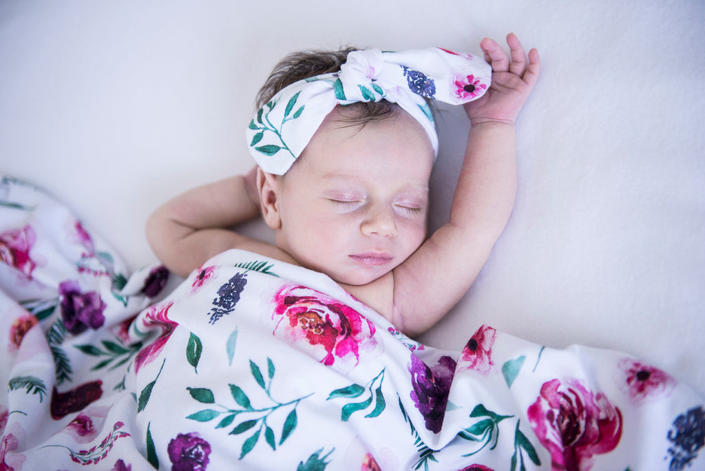 Snuggle Hunny Kids Baby Jersey Wrap and Topknot Set - Peony Bloom