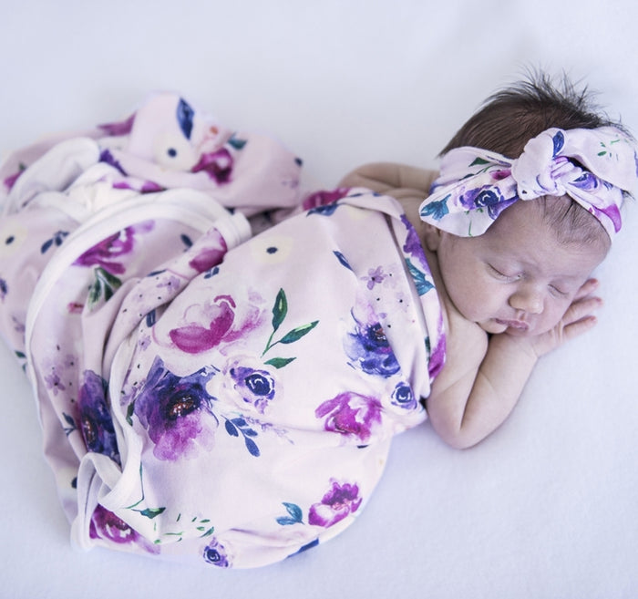 Snuggle Hunny Kids Baby Jersey Wrap and Topknot Set - Floral Kiss