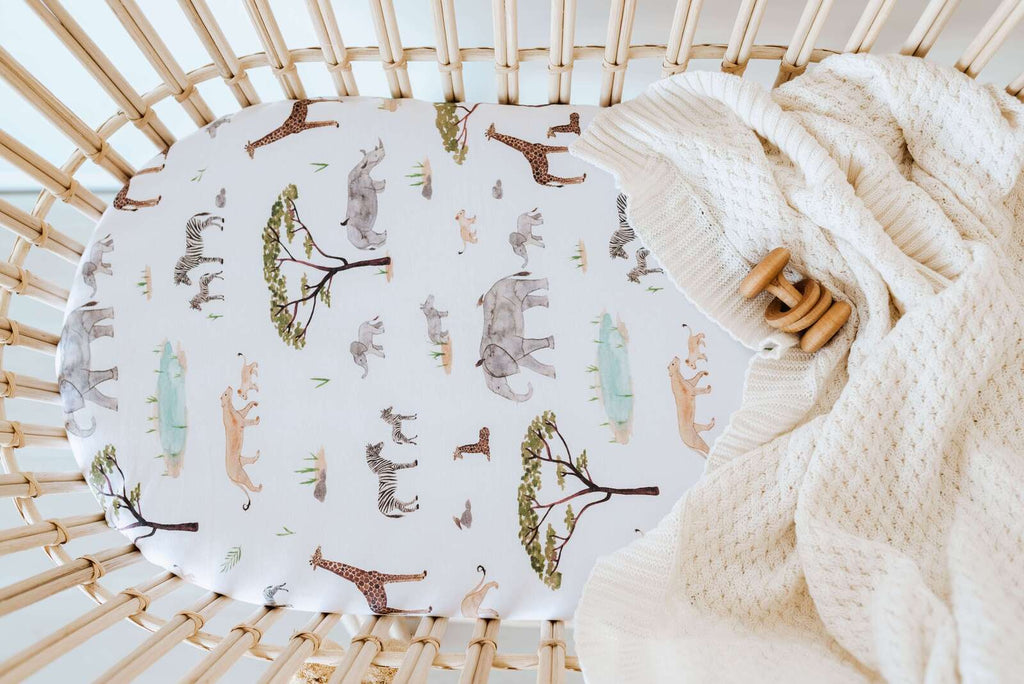 Snuggle Hunny Kids Bassinet Sheet and Change Pad Cover - Safari