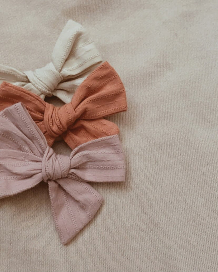 Mae and Rae Embroidery Bow Headband - Burnt Orange