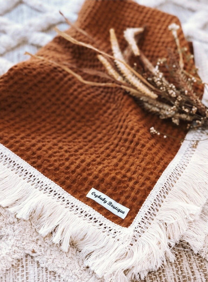 PRE ORDER - Crybaby Boutique Fringed Waffle Blanket - Rust