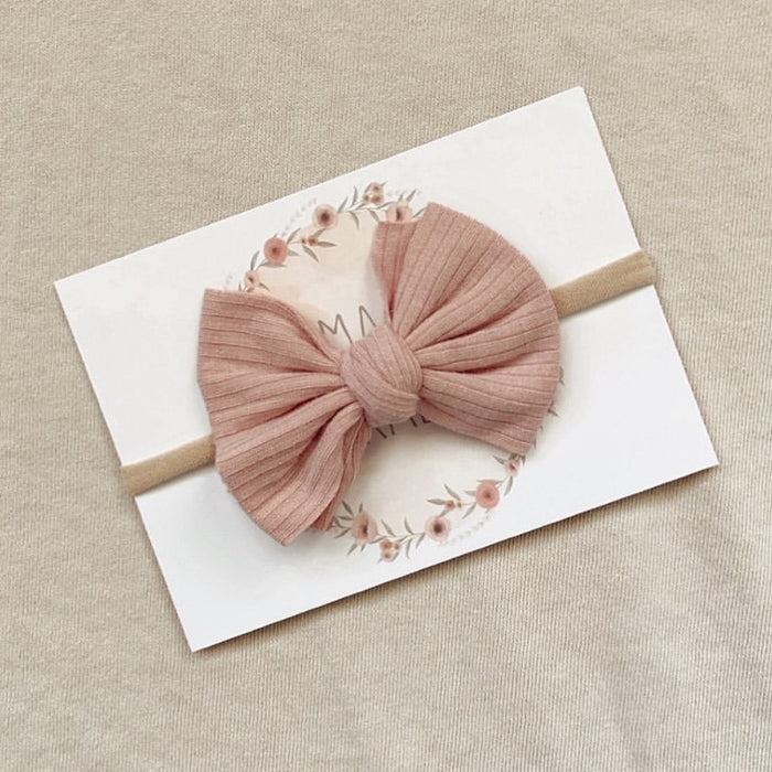 Mae and Rae Bow Headband - Dusty Pink