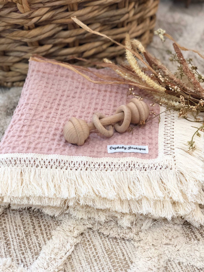 PRE ORDER - Crybaby Boutique Fringed Waffle Blanket - Rose