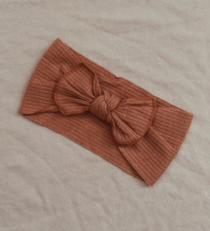 Mae and Rae Top Knot - Burnt Orange Ribbed
