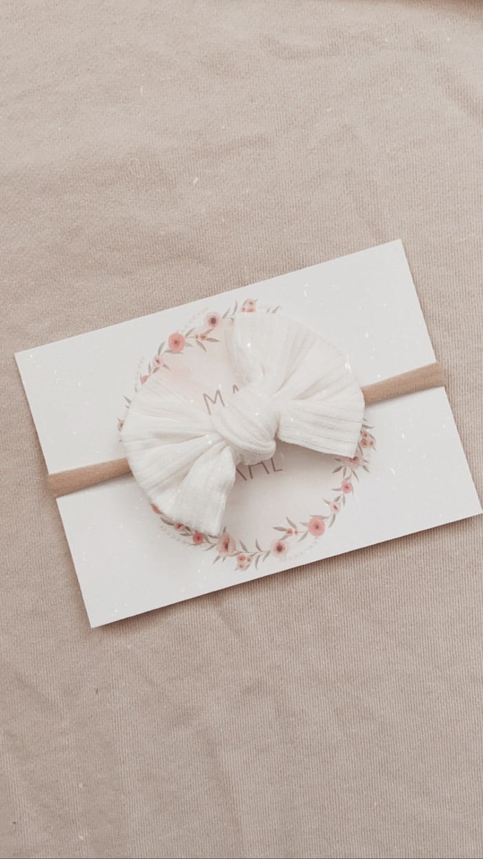 Mae and Rae Bow Headband - White