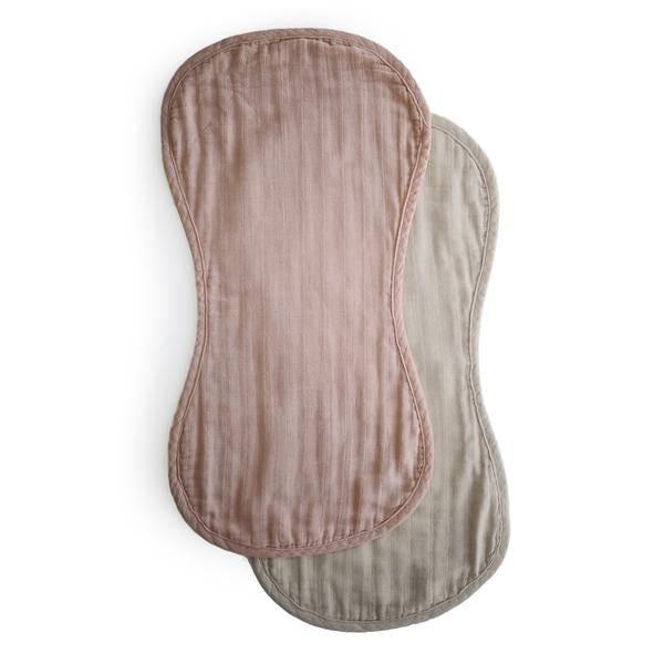 Mushie Organic Cottion Muslin Burp Cloth 2 Pack - Blush/Fog