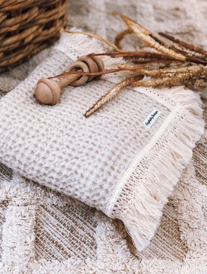 PRE ORDER - Crybaby Boutique Fringed Waffle Blanket - Sand