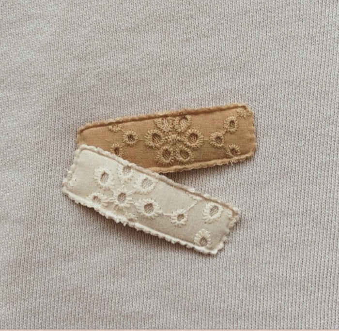 Mae and Rae Clip Set - Mustard and Beige Broderie Pack of 2