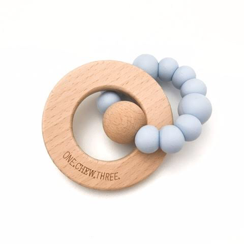 One Chew Three SOLAR Silicone and Beech Wood Teether