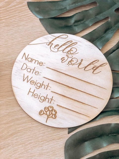 Hello Fern Wooden 'Hello World' Birth Announcement Disc - Australiana