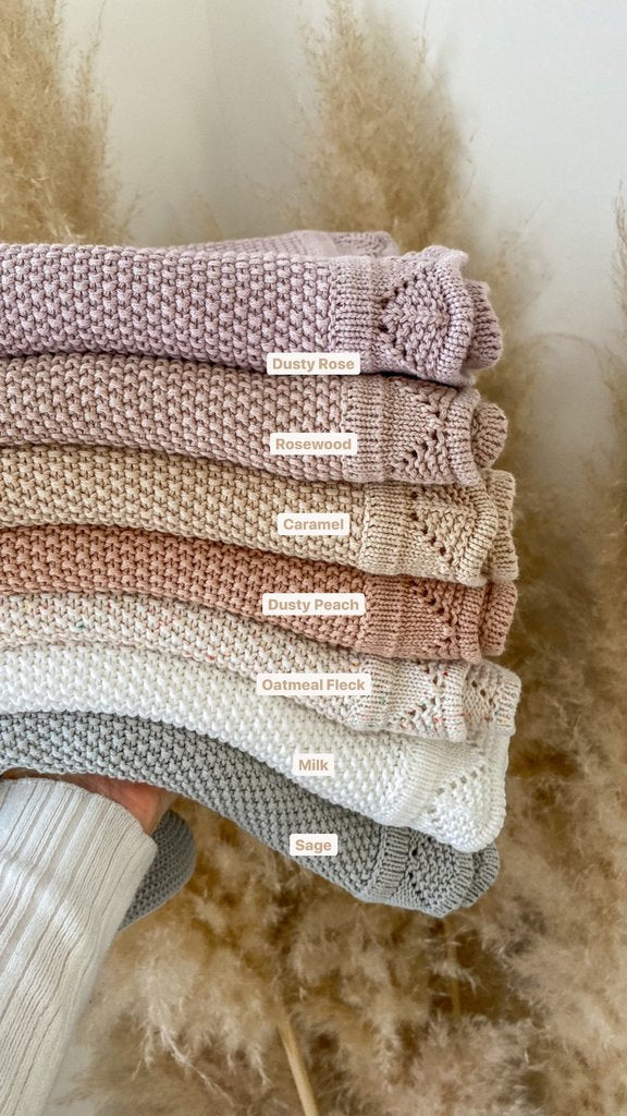 Ziggy Lou Heirloom Knit Blanket - Dusty Peach