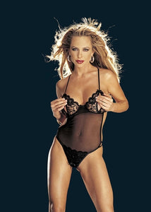 Lace and Stretch Mesh Peek-a-Boo Crotchless Teddy Black