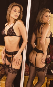 Bra Garter Belt and G String 4pc Set Front Back