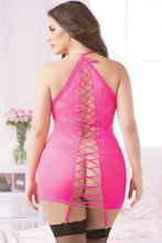 Floral Detailed Fishnet and Lace Chemise Set Queen Back
