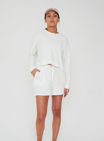 Cocoon Waffle Sweat - White