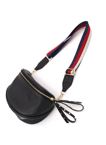 Leather Bum/Shoulder Bag Black