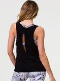 Slit Back Tank Black