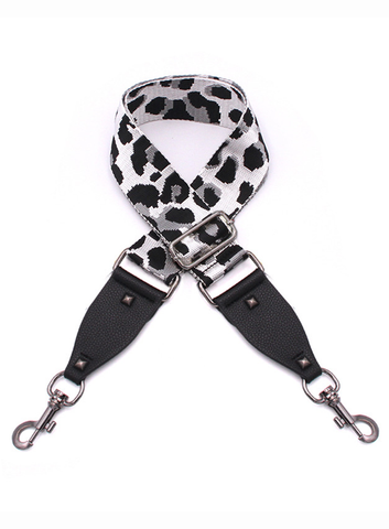 Bag Strap White Leopard - Gunmetal Hardware