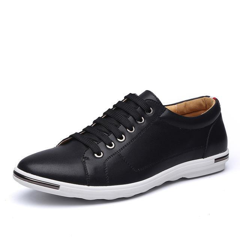 Mens Classic Lace Up Comfortable Faux Leather Flats