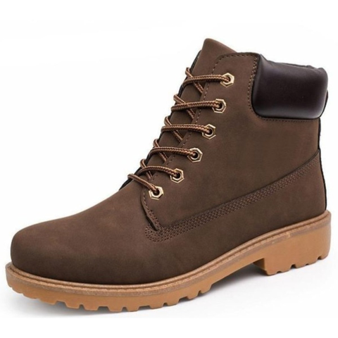 Mens Outdoor Waterproof Army Style Boots in Brown