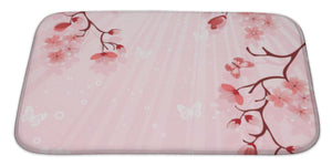 "Japanese Cherry Blossom Bath Mat, Microfiber, Foam With Non Skid Backing, 34""x21"", GN16910"