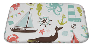 "Retro Nautical Pattern Bath Mat, Microfiber, Foam With Non Skid Backing, 34""x21"", GN20651"