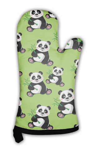 Oven Mitt, Pattern With Sitting Cute Panda And Bamboo