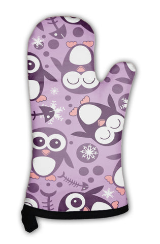 Oven Mitt, Pattern With Cute Penguins