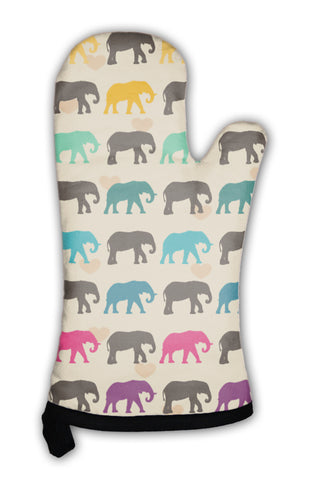 Oven Mitt, With Colorful Elephants