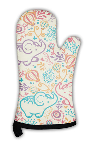 Oven Mitt, Elephants With Flowers Pattern