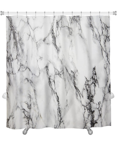 Shower Curtain, White Marble, 71x74 Inches