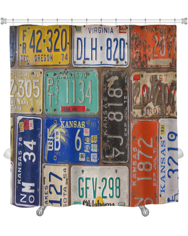Shower Curtain, Rusty Retro License Plates, 71x74 Inches