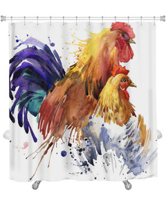 Shower Curtain, Chicken And Rooster With Splash