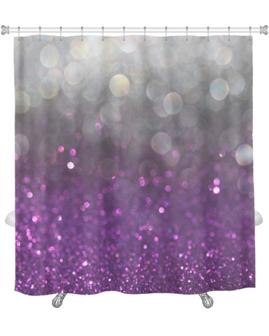 Shower Curtain, Image Of White Silver And Purple Abstract Bokeh Lights Defocused