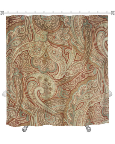 Shower Curtain Beige/Tan Paisley Pattern