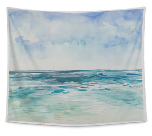 Wall Tapestry For Bedroom Hanging Art Decor College Dorm Bohemian, Watercolor Sea, Small, 60 inches wide by 51 inches tall