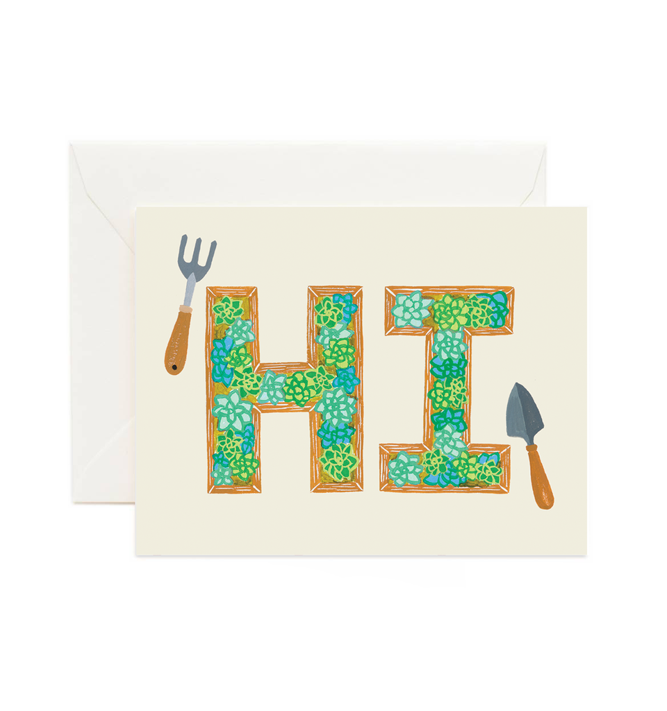 Hi Succulent Planter Boxes - Greeting Card by Forage Paper Co.