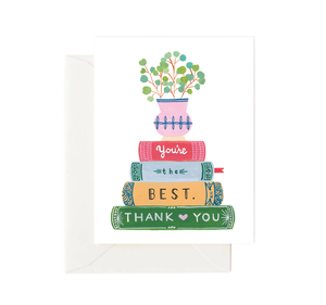Stack of Books - Greeting Card by Forage Paper Co.