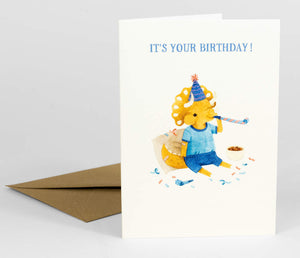 Triceratops Birthday by Teagan White - Greeting Card