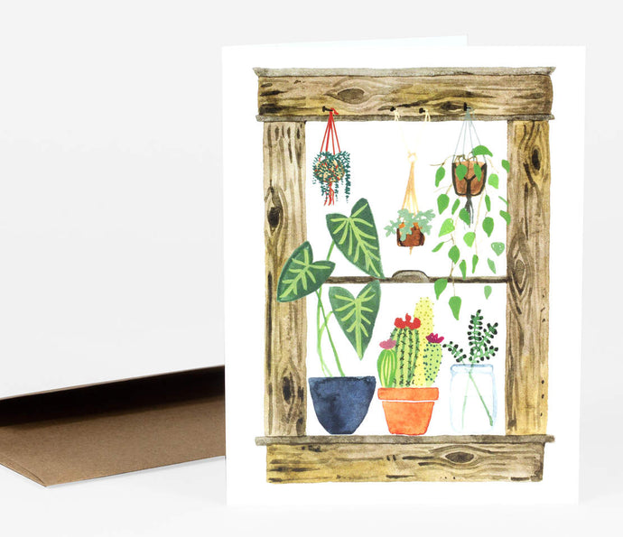 Plants Window - Greeting Card