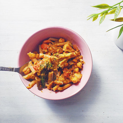 malaysian recipe made healthy: chickpea curry on pasta
