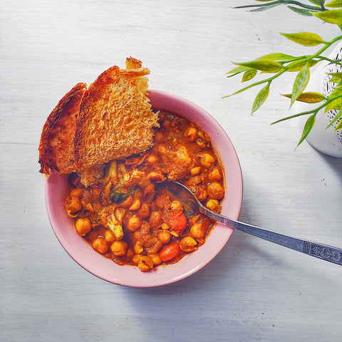 malaysian recipe made healthy: chickpea curry on toast