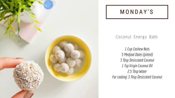easy healthy snack idea: coconut energy ball recipe