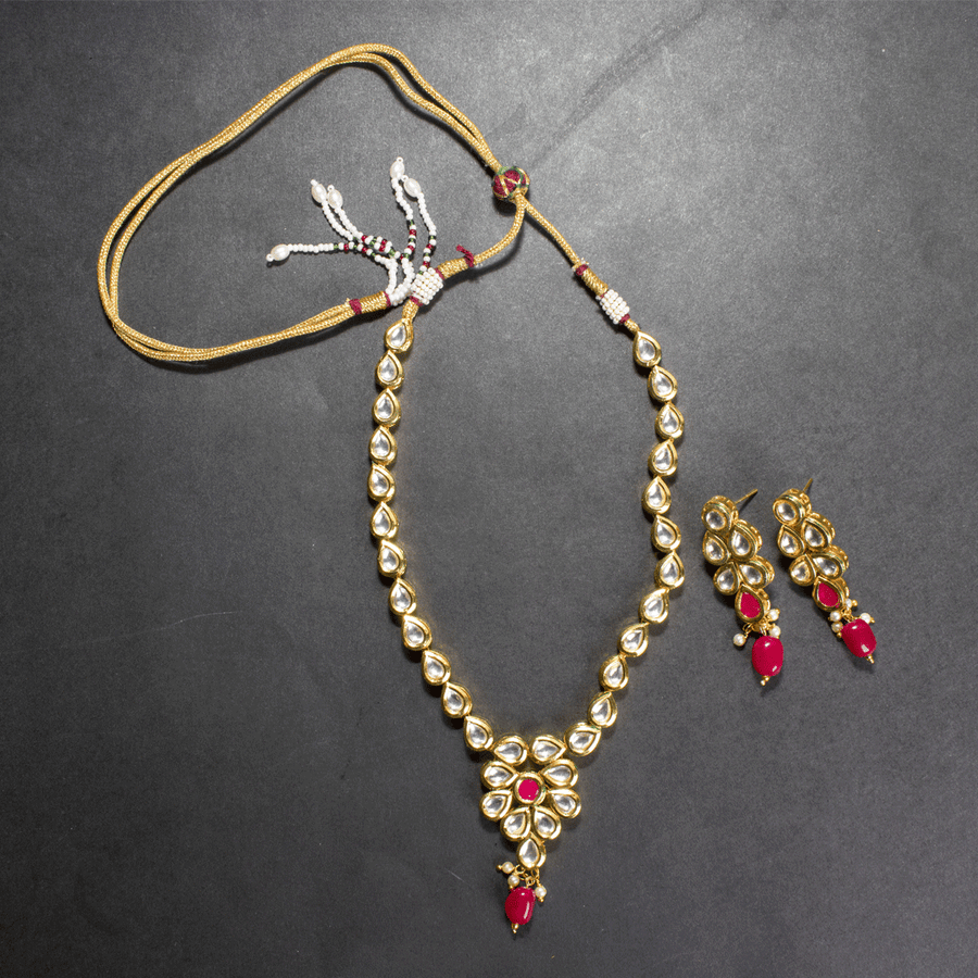 Kundan Mala Set In Ruby With Earrings - TCS Sentiments Express