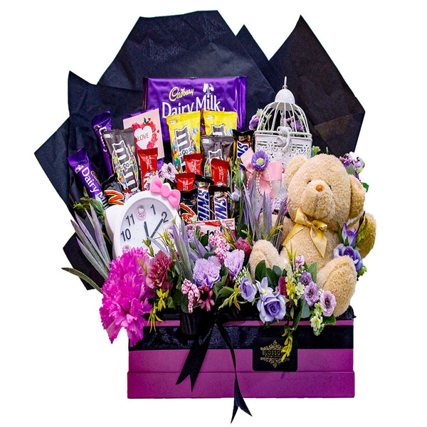 Purple Love Box with Bear By Blossoms - TCS Sentiments Express