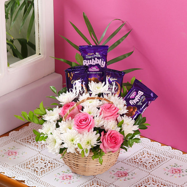 Flower & Chocolate Basket - TCS Sentiments Express