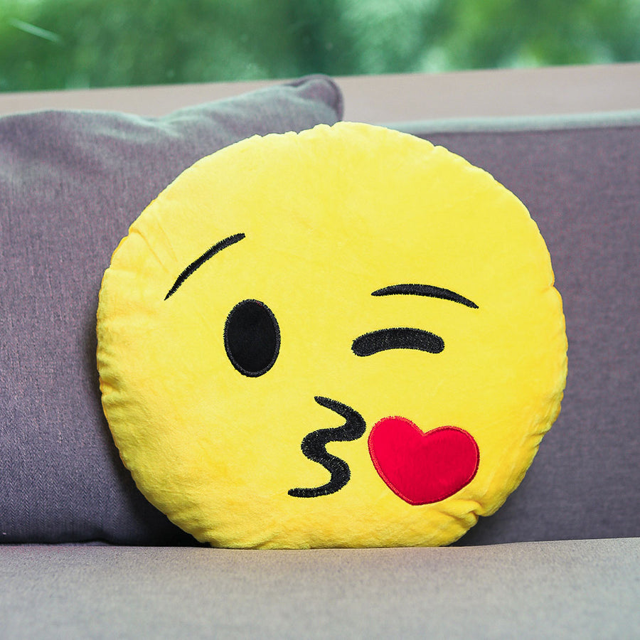 Kissing Face Emoji Cushion - TCS Sentiments Express