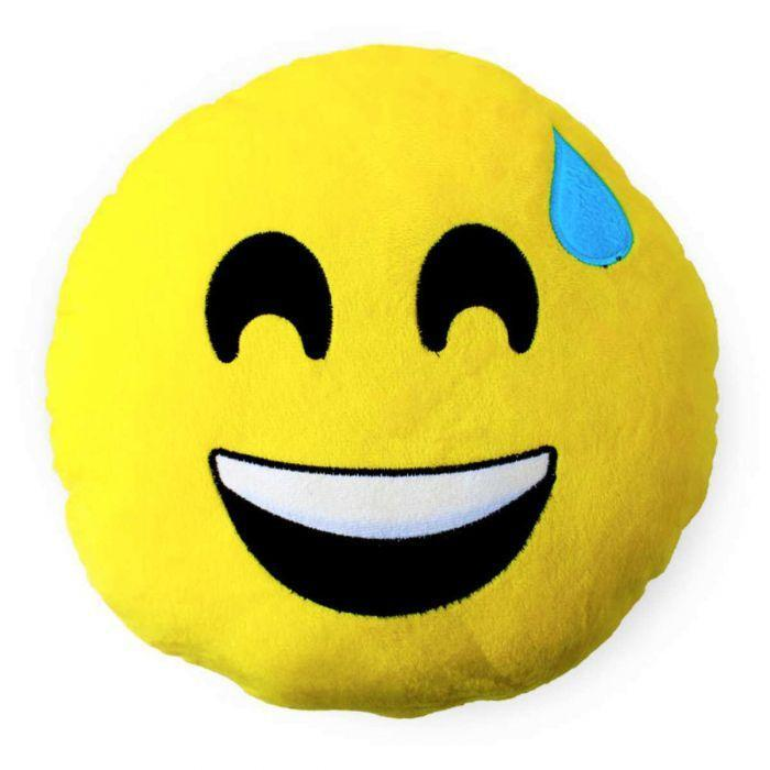 Smiling Face with Cold Sweat Emoji Cushion - TCS Sentiments Express